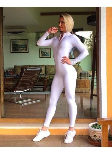 LizzSpor Uzun Kollu Dar Kesim Önden Fermuarlı Beyaz Renk Kadın Spor Tulum Beyaz